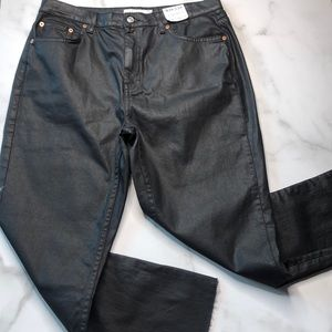 Topshop Straight Black Waxed Jeans NWT